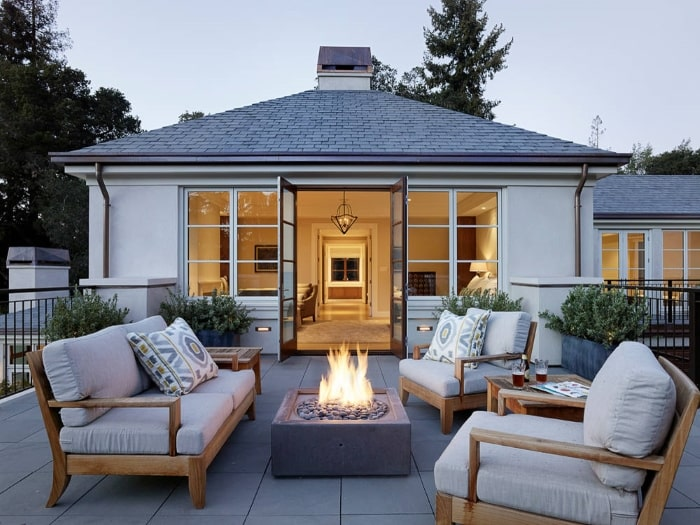 Patio with firepit.