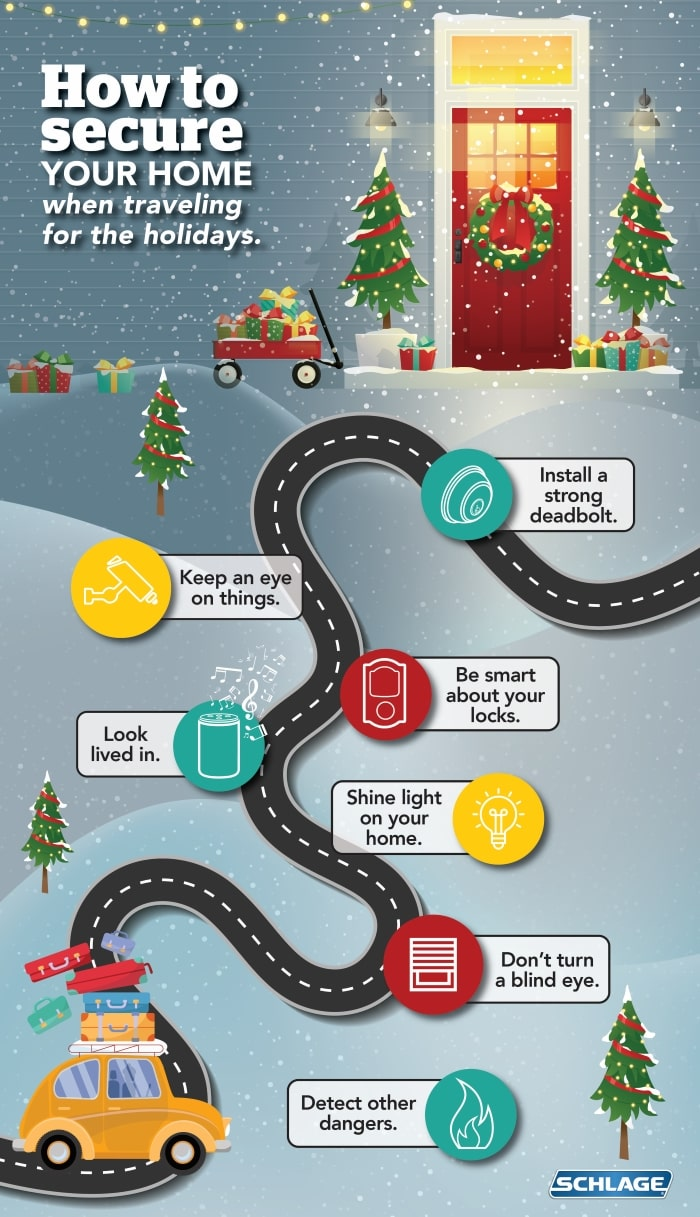 How to secure your home while traveling for the holidays infographic.