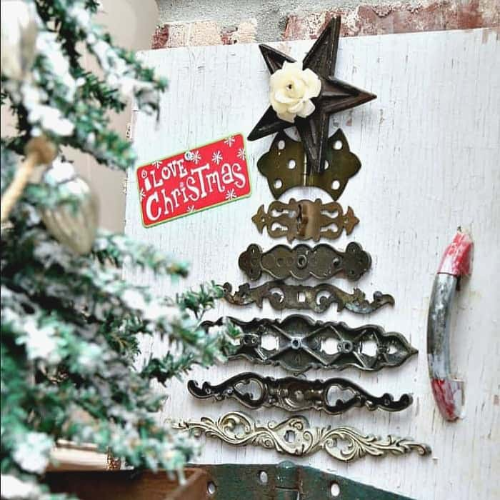 Reclaimed hardware Christmas tree.