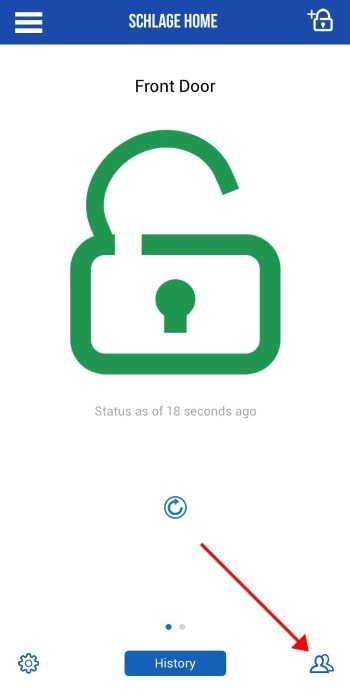 Schlage Home app lock status screen.