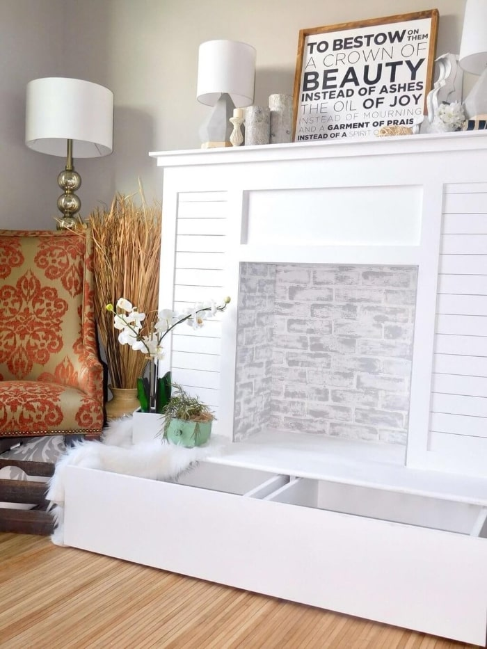 Faux shiplap fireplace mantel