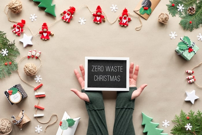 Chalkboard with words Zero Waste Christmas.