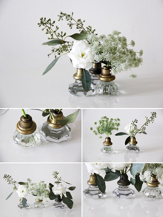 Glass door knob used for flower vase.