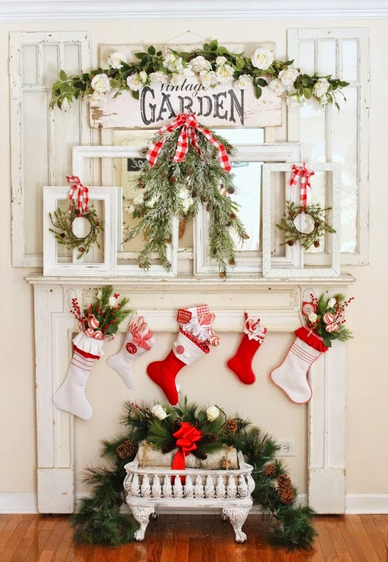 Vintage faux fireplace with holiday decor.