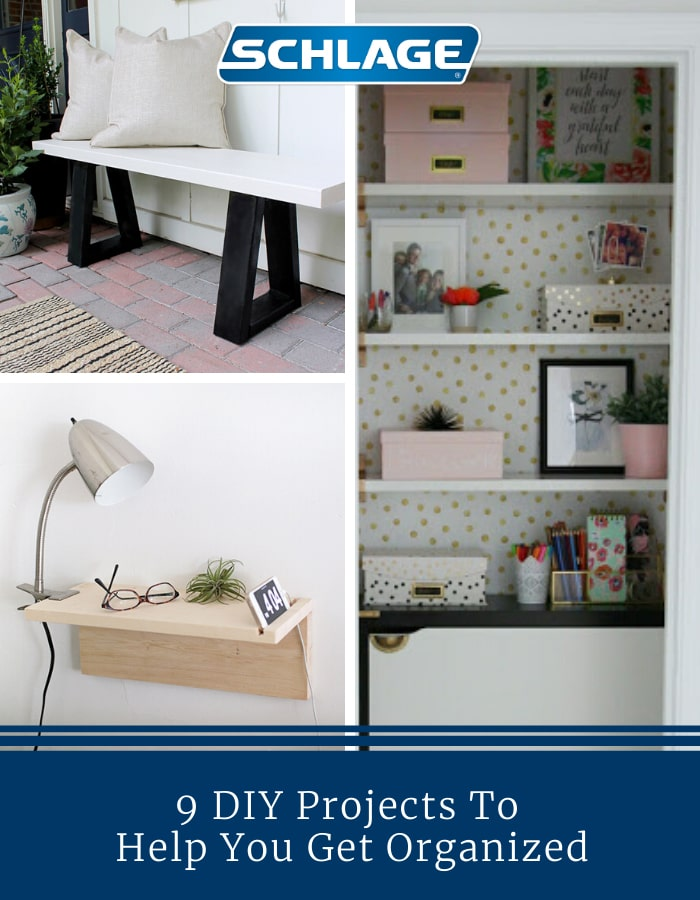 9 DIY tips and projects for a more organized home.