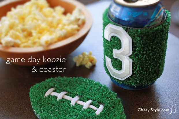 DIY turf koozie and coaster for game day.