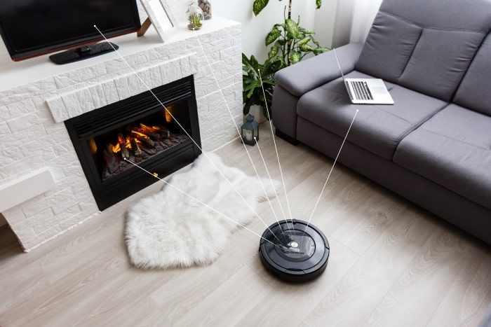 Roomba in living room.