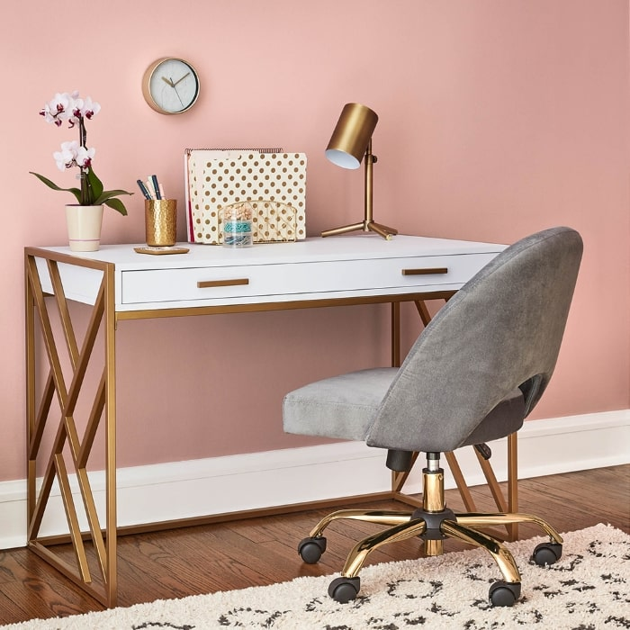Home office painted in Valspar's Bombay Pink.