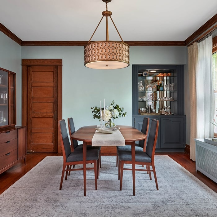 Dining room painted in Valspar's Grey Brook.