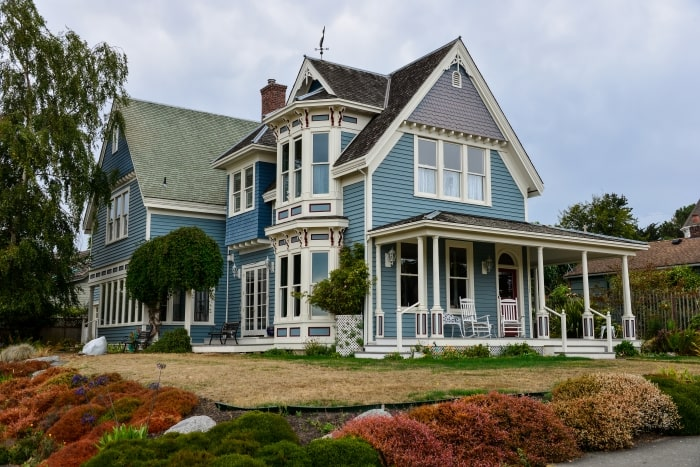 Exterior of Victorian style home.