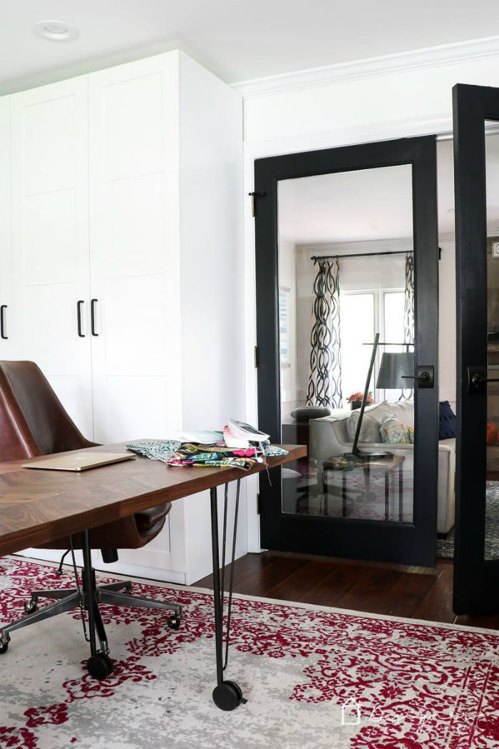 Black home office French doors.