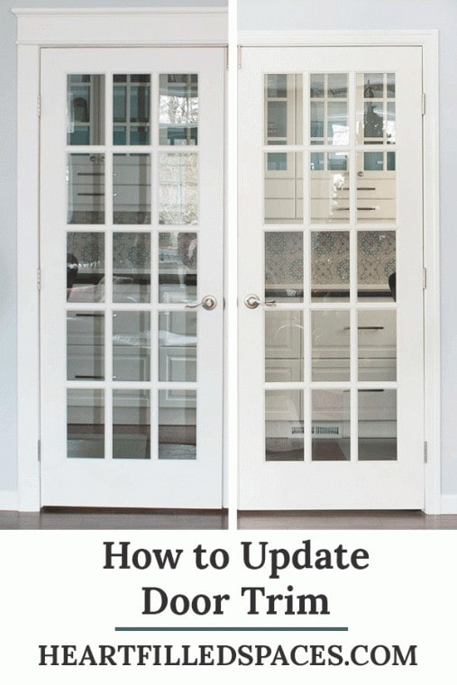 French doors with DIY farmhouse style trim.