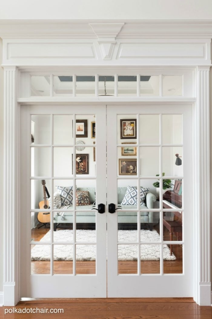 Home office with French doors.