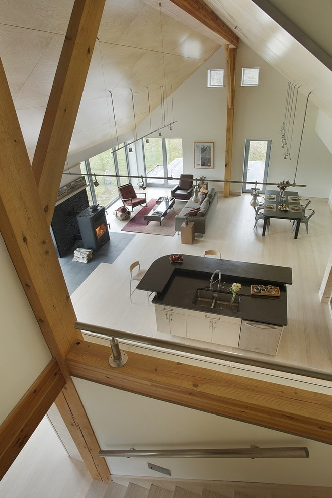 Passive house open living space.