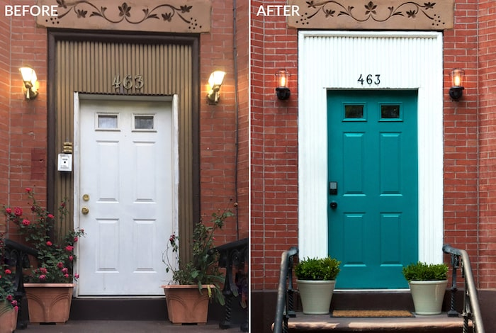 Brooklyn Limestone front door before and after new paint.