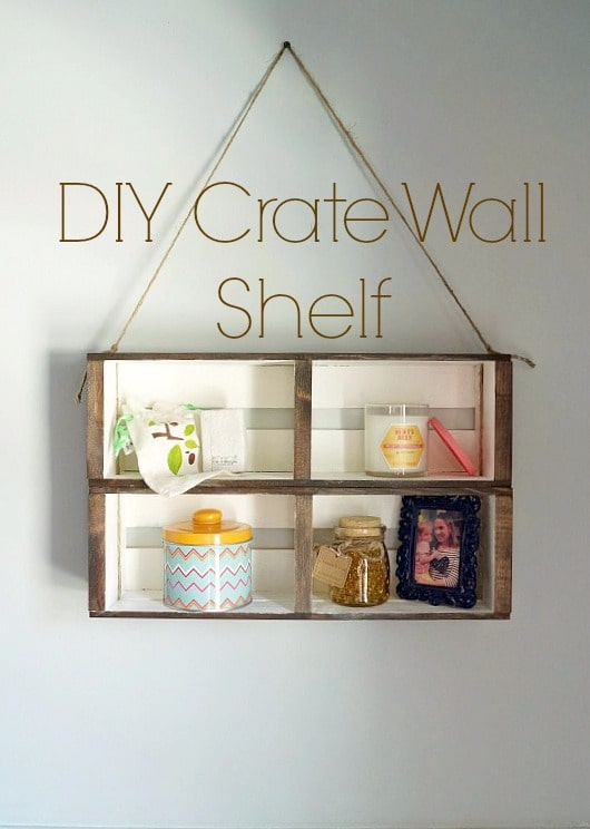 DIY crate wall shelf.