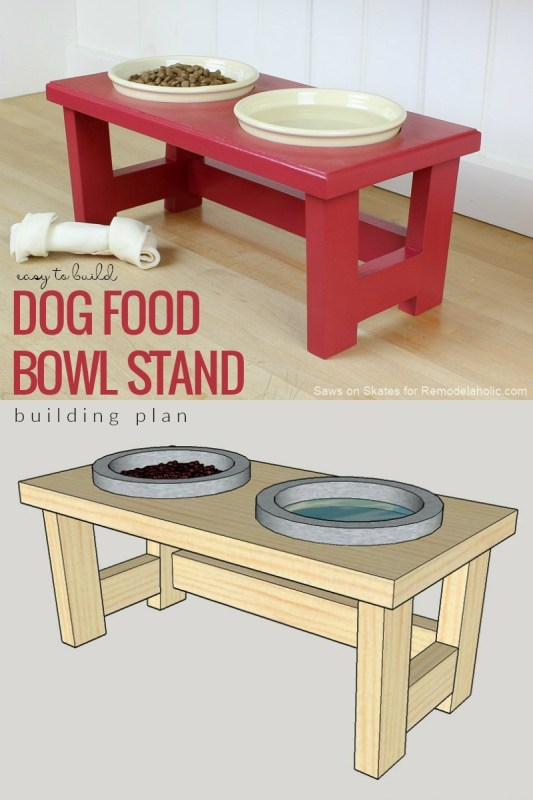 DIY dog food bowl stand.