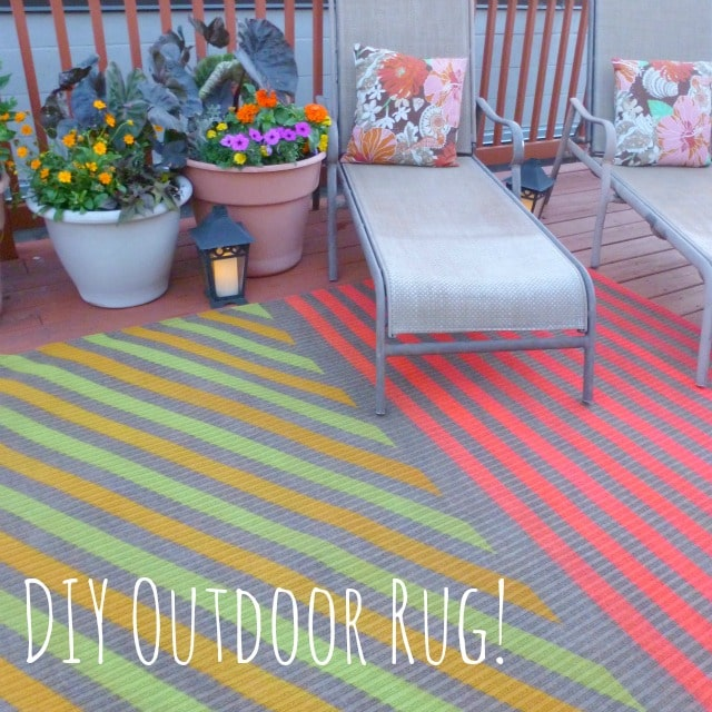 DIY painted outdoor rug.