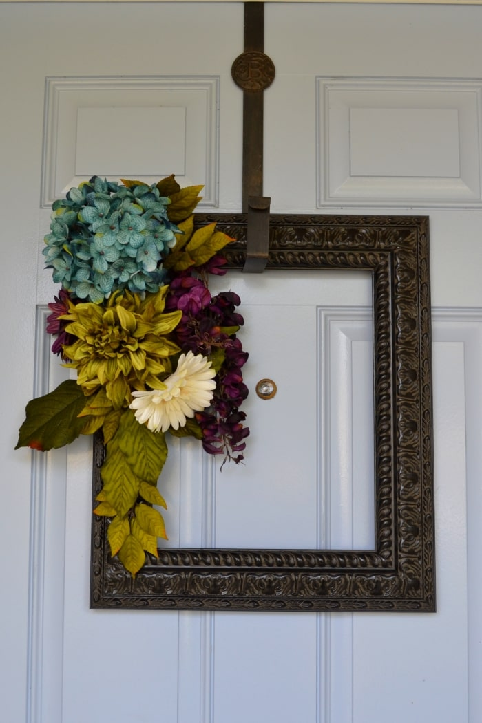 DIY picture frame wreath.