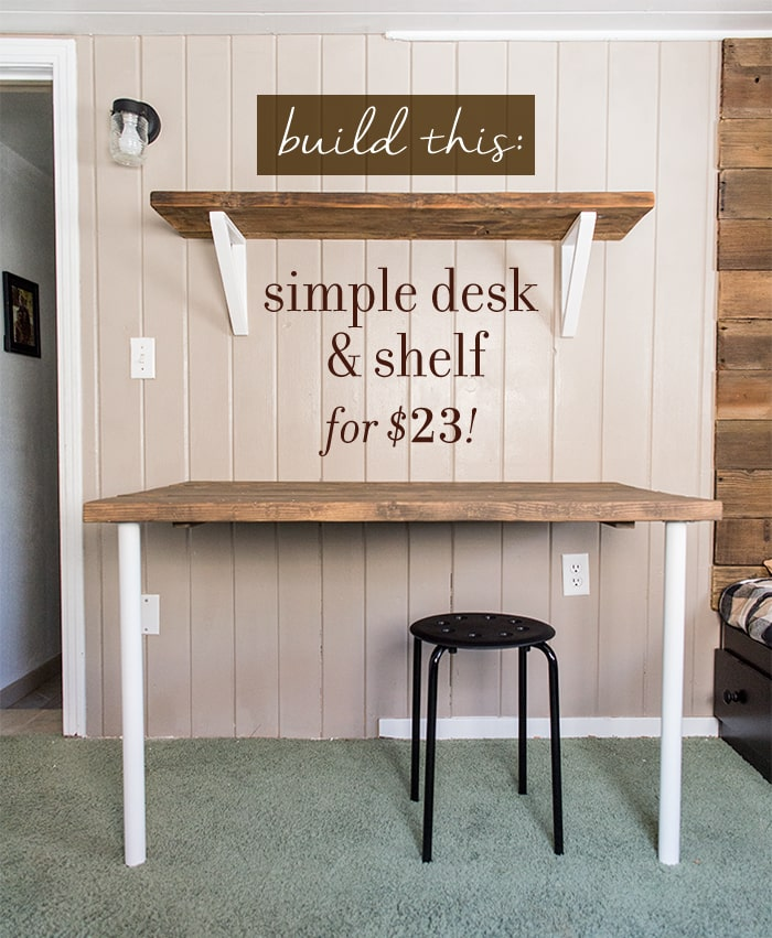 DIY wall desk with shelf