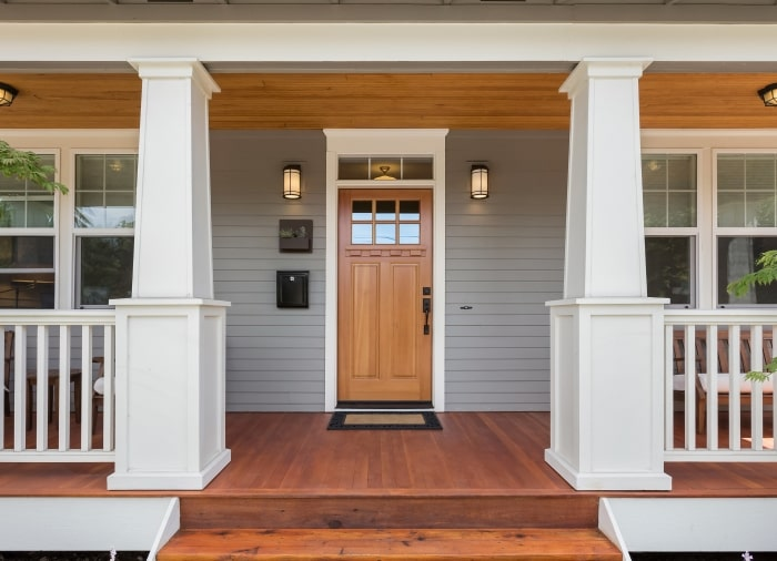 Craftsman style front porch.