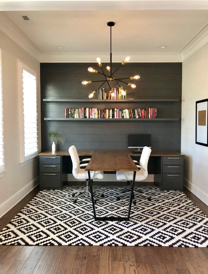 Dark grey home office with built-in desk for two
