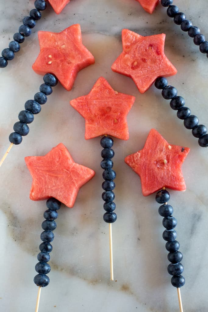 4th of July fruit sparklers for a healthy kids snack.