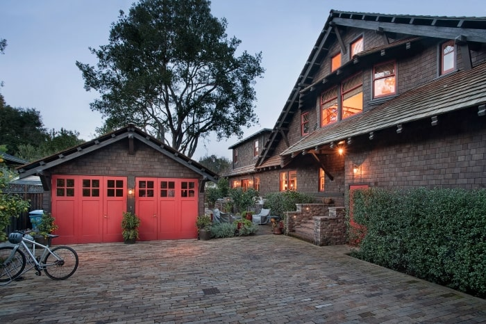 Craftsman home with folding garage doors.
