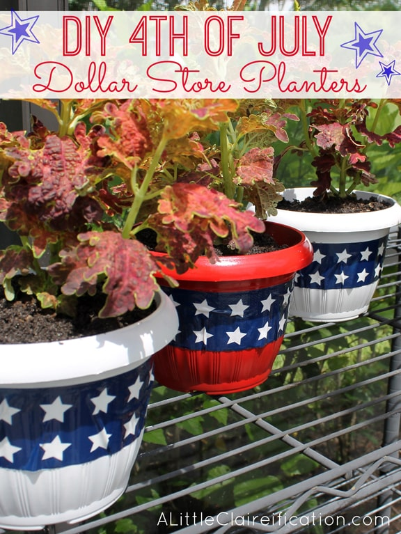 DIY 4th of July dollar store planters.