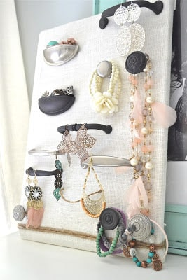 Hardware and door knobs used for jewelry organization