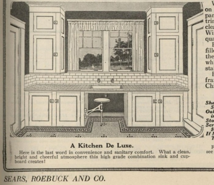 Illustration of 1920s kitchen from Sears, Roebuck and Co catalog.