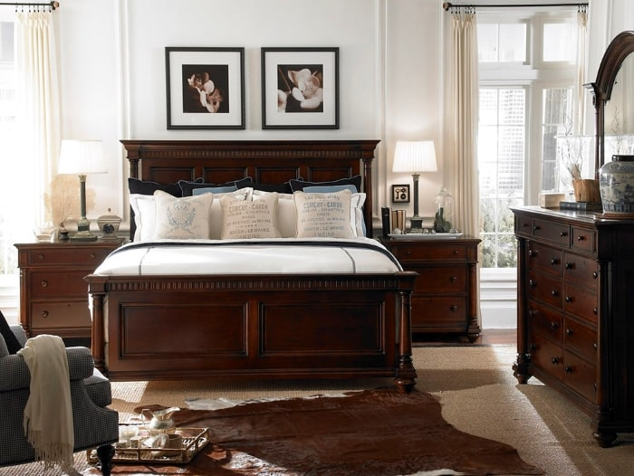 Traditional style master bedroom with matching bedroom suit.