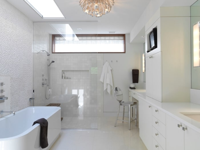 Universal design bathroom with curbless shower.