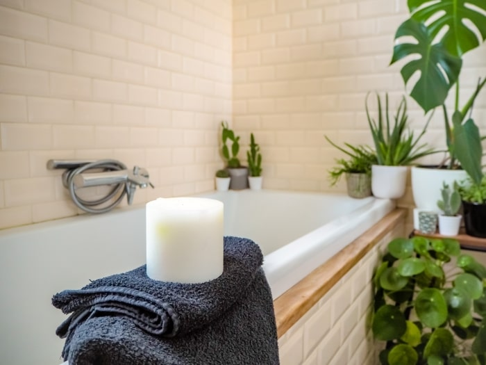 Bathtub with candles and green plants.