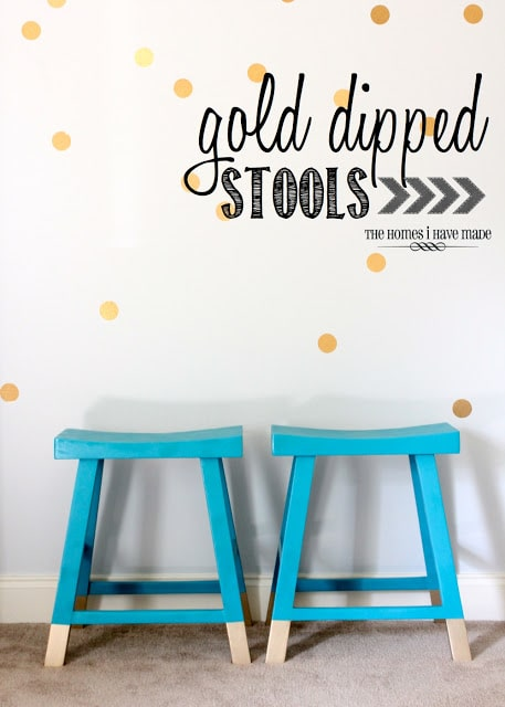 Blue stools with gold dipped legs.