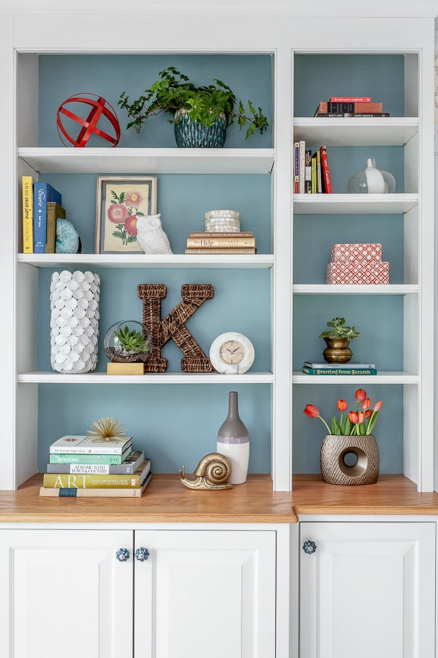 Bookcase with painted back.