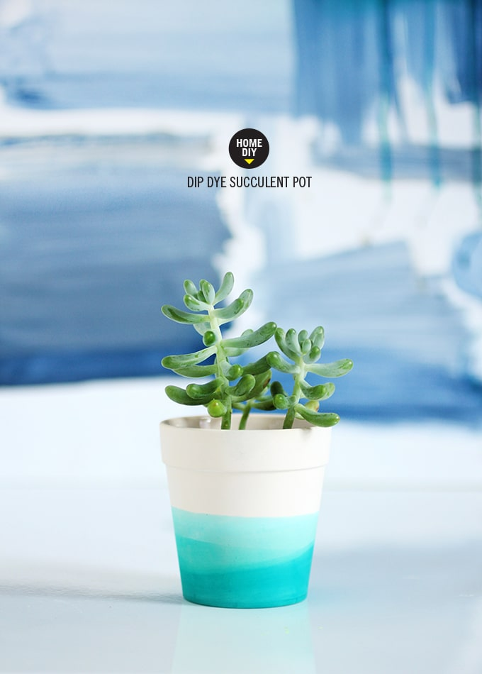 DIY dip dye painted flower pots.