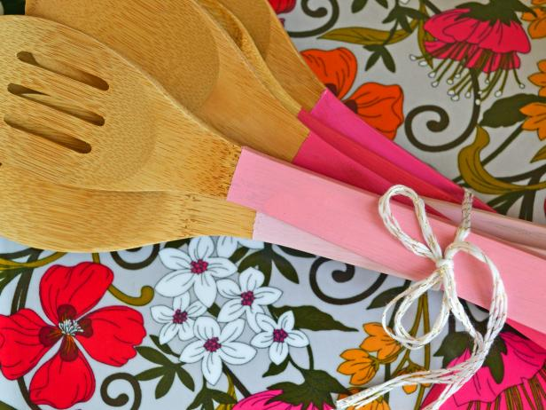 DIY painted wooden utensils.