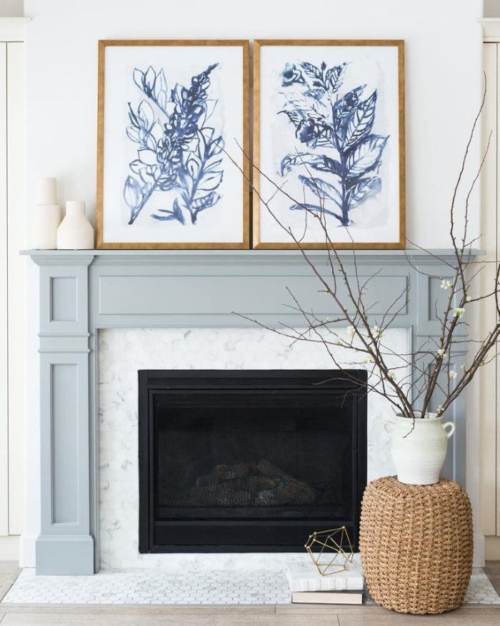 McGee & Co blue grey fireplace mantel.