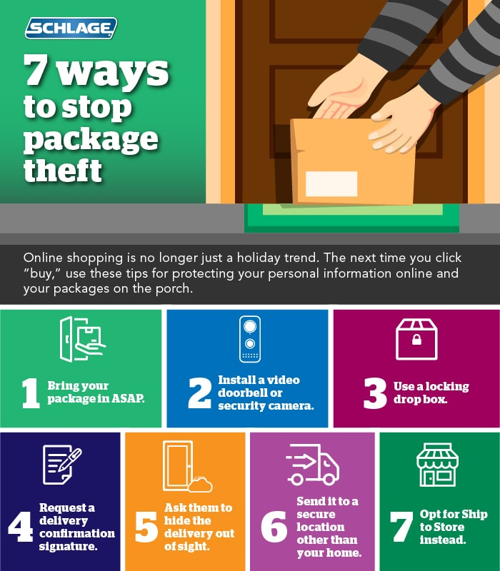 Infographic with 7 tips for preventing package theft and porch pirates.
