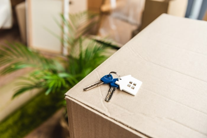 House keys laying on moving box.