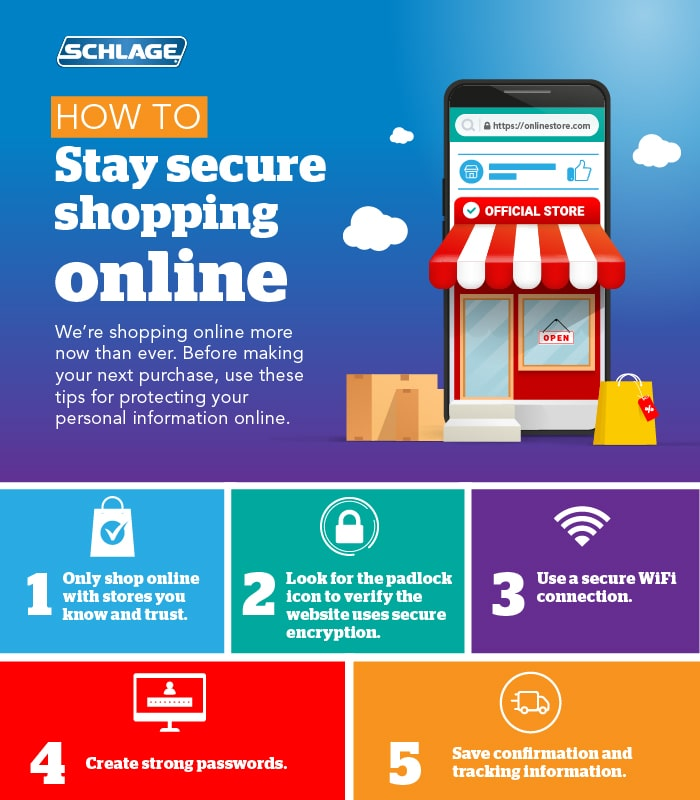 Infographic with online shopping tips for security.