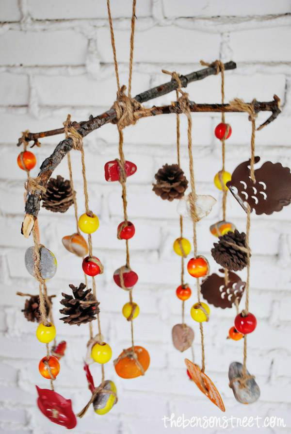 DIY fall wind chimes for kids