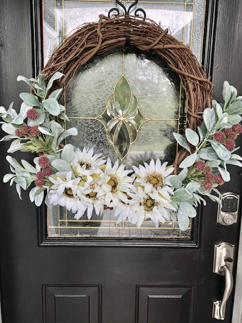 DIY faux sunflower wreath.