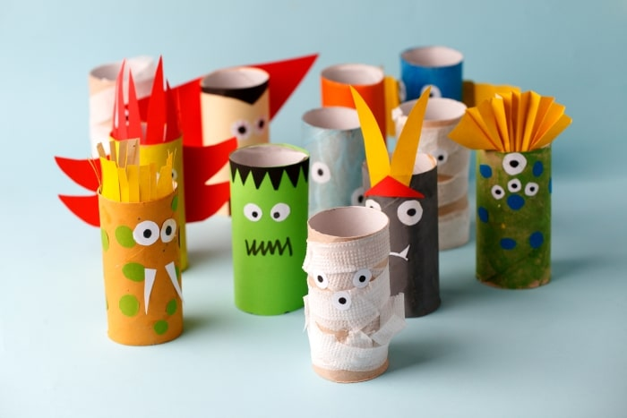 Halloween Monsters made from toilet paper rolls.