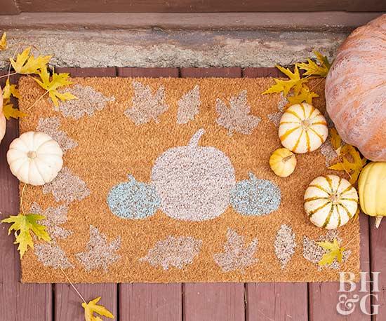 DIY pumpkin stencil front door mat.