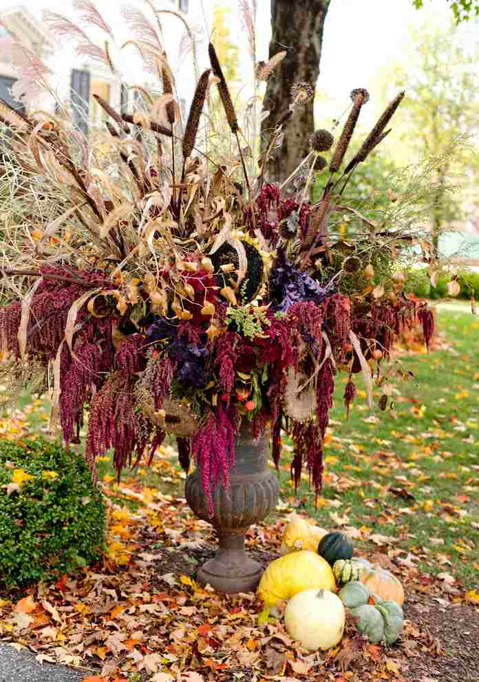 Fall planter with dried flowers.
