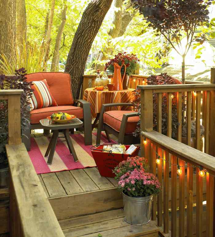 Fall porch with string lighting.