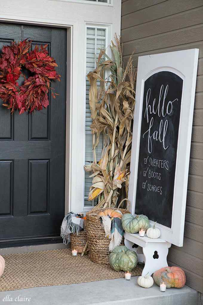 Front porch chalkboard sign for fall.