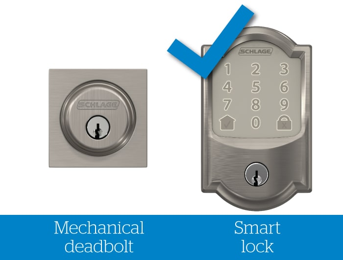 Schlage mechanical deadbolt without check mark and smart lock with blue check mark.